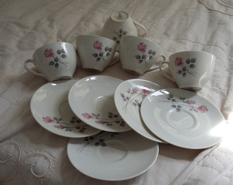 5 Royal Doulton Pillar Rose Cups and Saucers Pink and Grey
