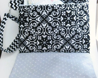 Black Diaper Bag & Changing Pad All in One- Travel Diaper Changing Set- Diaper clutch