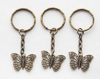 Bestie Gifts 3 Friend Keychains Butterfly Charms Butterflies Key Rings 3 Friendship Keychains 3 Butterfly Keychains Set of 3 Gifts Keychains