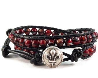 SALE Black Leather Wrap Bracelet, Boho Leather Wrap Bracelet, Beaded Wrap Bracelet, Fluer de Lis Clasp