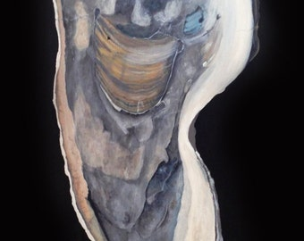 Oyster Painting on Wood Panel 2 ft by 5 ft Oyster Art, Oyster Framed Art, Oyster Artwork, Oyster Wall Art, Coastal Decor, Nautical Art Shell
