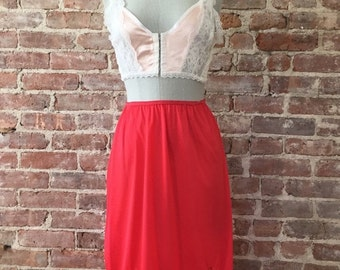 Sale 3 Days Only Size  S - Cherry Red Half Slip - 1960s - Skirt Slip