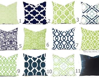 Pillows Custom Cover - Navy Blue Kiwi Green Apple Chartreuse White - All sizes 18x18, 16x16  Throw Accent Toss Modern QuatrefoilPrint