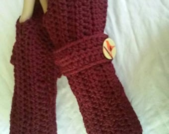 Crochet Fingerless Gloves-Thick and Cozy- Wine