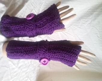 Crochet Fingerless Gloves-Soft and Comfy: Aubergine