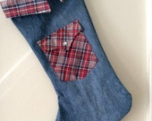 Upcycled Denim and Plaid Collar with Pocket Christmas Stocking Eco Friendly
