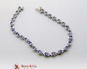SaLe! sALe! HOLD for LISA WILLIS Modernist Tennis Bracelet Sterling Silver Blue C Z