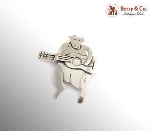 SaLe! sALe! Mexican Guitar Playing Cow Bull Brooch Sterling Silver