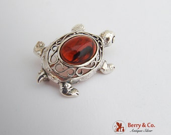 Turtle Tortoise Form Brooch Sterling Silver Amber