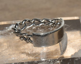 Vintage Sterling Ring Chain Ring sz 5.75 Signed Lampl ID Band