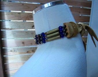1960s Jewelry/Deerskin Choker/ Bullet Choker/ Beaded Choker/ Deerskin Choker/ May be American Indian Choker Necklace