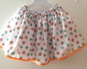 Girl's cotton skirt with flowers, orange and white skirt, toddler skirt