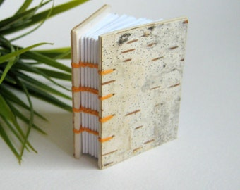 Birch bark coptic journal, handmade with forest material notebook- blank pages 100% recycled- customize with your size and colors