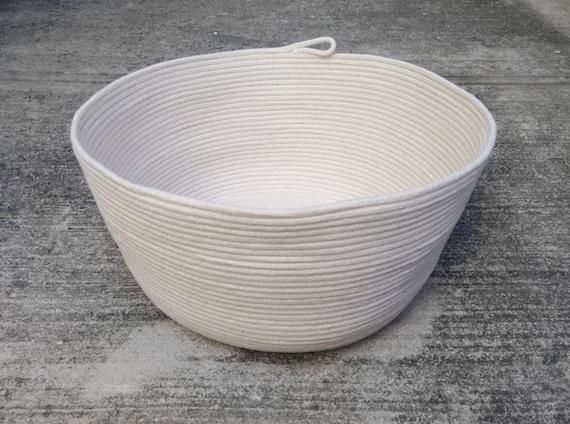 Handmade Cotton Baskets : Large handmade cotton rope basket for blankets plain minum