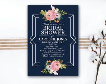 INSTANT DOWNLOAD bridal shower invitation / floral bridal shower / navy bridal shower / garden party bridal shower / elegant bridal shower
