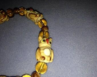 Glass Owl Bead Stretch Bracelet