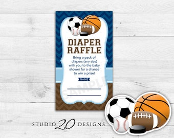 Instant Download Sports Diaper Raffle Cards, Printable Navy Brown Chevron Raffle, Soccer Baseball Basketball Football Baby Shower Raffle 80A
