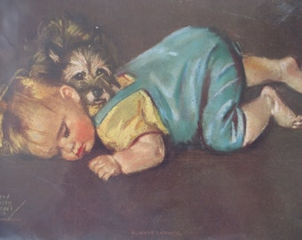 Baby with Terrier Print by Maud Tousey Fangel
