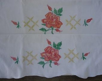 Vintage Cotton Hand Painted Rose Motif Pillowcase Set