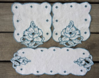 Blue and White Linen Doiles  (set of 3)