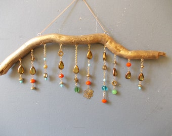 Bohemian Driftwood Mobile / Wall Decor / Vintage Beads and rhinestones Wall Art / Wall Hanging