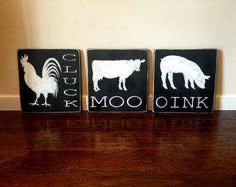 Farm Animal Signs // Farmhouse Decor //  Rooster Sign //  Cow Sign //   Pig Sign // Farmhouse Kitchen Signs
