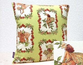 """Handmade 16""""x16"""" Cotton Cushion Pillow Cover in Apple Green/Orange/Peach Floral with Pretty Sweet Silver Glitter Fairies Design Print"""