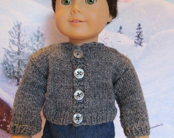 Gray Sweater for 18'' Boy Dolls,Everyday Sweater,Winterwear,Outerwear,Sporty Sweater,Play Sweater,Fun Sweater,Matches Everything