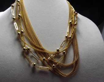 "Gold Tone Multi Strand Chain Necklace-10 Strands Of Chains-No Hallmark- 20""-22"" Long"