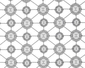 Medallion Fabric, Flower & Chain, 100% Cotton, Fabric by the Yard, Black and White, Quilting, Home Decor, Crafting