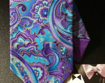 Paisley Men's Necktie Set. Purple Paisley Necktie and Matching Pocket Squares. Perfect for Weddings, Special Occasions