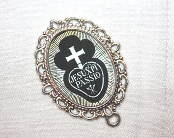 Custom Rosary Center Part/Passionist Insignia/Black & White/ Rosary Making/Available in Antique Silver or Antique Bronze