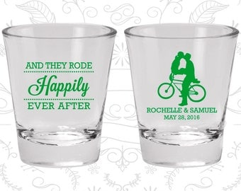 And They Rode Happily ever After, Cheap Shot Glasses, Southern Wedding Shot Glasses, Bicycle, Wedding Favor Shot (201)