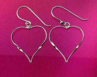 925 Solid Sterling Silver HEART Earrings-Open Heart-Dangle-Polished