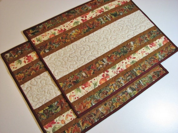 Quilted Placemats Set Of 2 Autumn Placemats Quiltsy Handmade