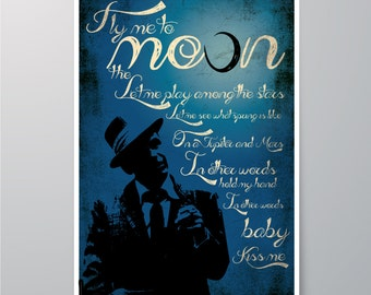 DOWNLOAD Printable, Frank Sinatra - Fly me to the Moon, Art for home, Wall decor, Print, Poster, Home decor