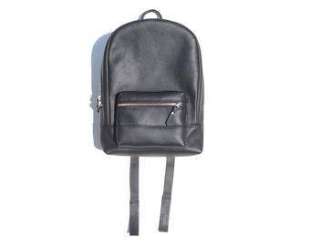 Black leather mini backpack, Purse size shoulder bag, Evening bag, Ladies classic pack, Round top laptop bag, Roomy handbag, Handmade goods