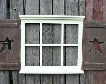 "Hand made 6 pane  window frame with shutters  24"" tall X 27"" wide pine"