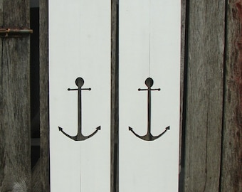 "Decorative hand made wood shutters with 1 anchor  in each.  24"" tall and 7"" wide, many colors and size's."