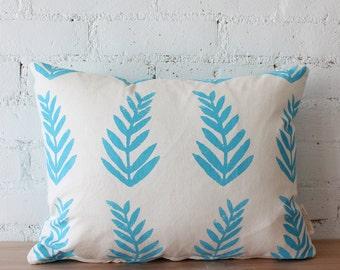 THE FERN THROW - throw pillow tropical fern bahama blue