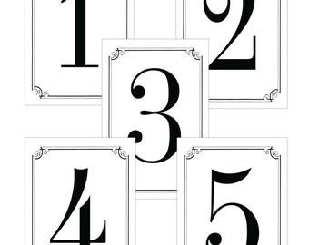 Elegant Black & White Wedding Table Numbers -DIY Printable