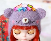 Flower Teddy Bear  Hat for NEO blythe/blythe hat/blythe helmet