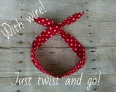 Wire Red polka dot headband bandana knot 1950s hair tie Rosie the riveter retro rockabilly style made by FlyBowZ