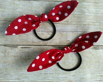 Red polka dot ponytail headband bandana knot elastic hair ties Rosie the riveter retro rockabilly style made by FlyBowZ