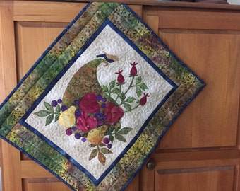 Hand Quilted Appliqued Fruit Basket Wall Hanging