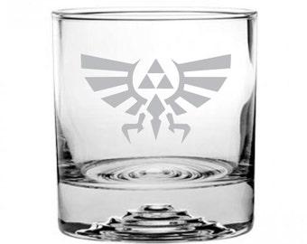 Zelda Triforce Crest Etched Rocks Glass