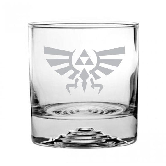 Zelda Triforce Etched Rocks Glass