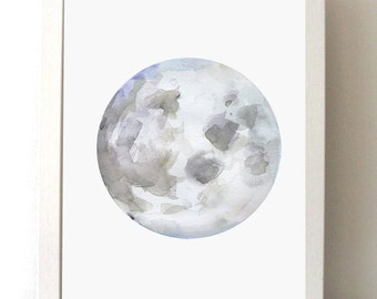 Moon Art - Moon Watercolor Painting - giclee print-  lilac art - spiritual art - Meditation room - Moon painting - moon illustration - draw