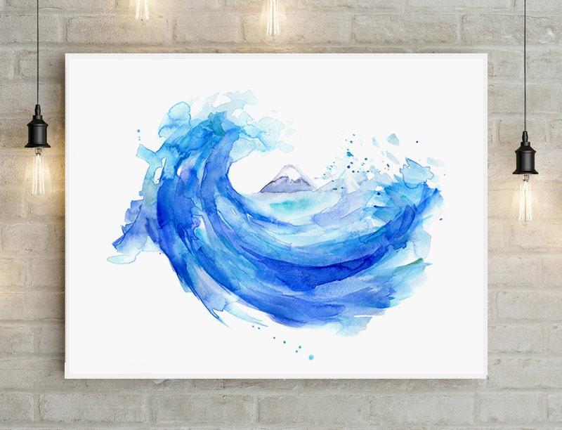 Hokusai wave painting giclee print mount fuji art japan for Japanese watercolor paintings