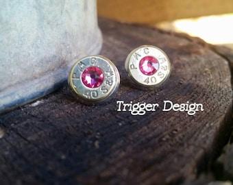 40 Caliber Bullet Casing Post Earrings- Light Pink